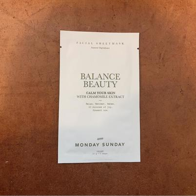 Monday Sunday Facial Sheetmask Balance Beauty