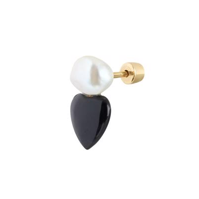 Maria Black Onyx Heart Stud Gold