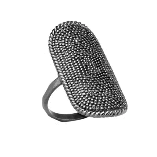 Carré Shield Ring Oval Oxideret