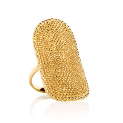 Carre Shield Ring Oval Guld
