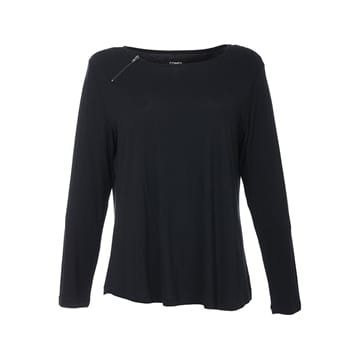 Comfy Copenhagen bluse still off the night deep black zipper