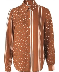 Stine Goya Maxwell Dots and Stripes Skjorte Rust
