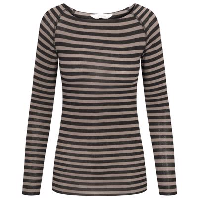 Gai Lisva Amalie Medium Stripe Bluse Hazy Brown Black Stripe