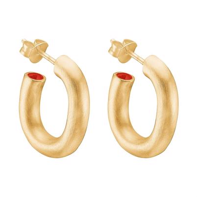 Enamel Copenhagen Oval Hidden Spot Hoops Gold