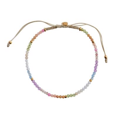 Stine A Soft Rainbow Mix Armbånd Sandy Grey Ribbon